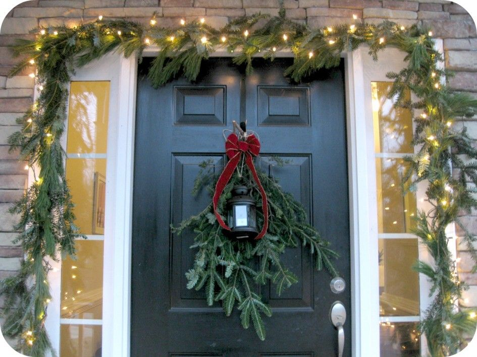 Decoration ideas cool green door with lighting garland decorations decoration awesome lighting terrific christmas garland lights with unique hanging lamp along with wooden black door inspiring christmas exterior also aloadofball Image collections