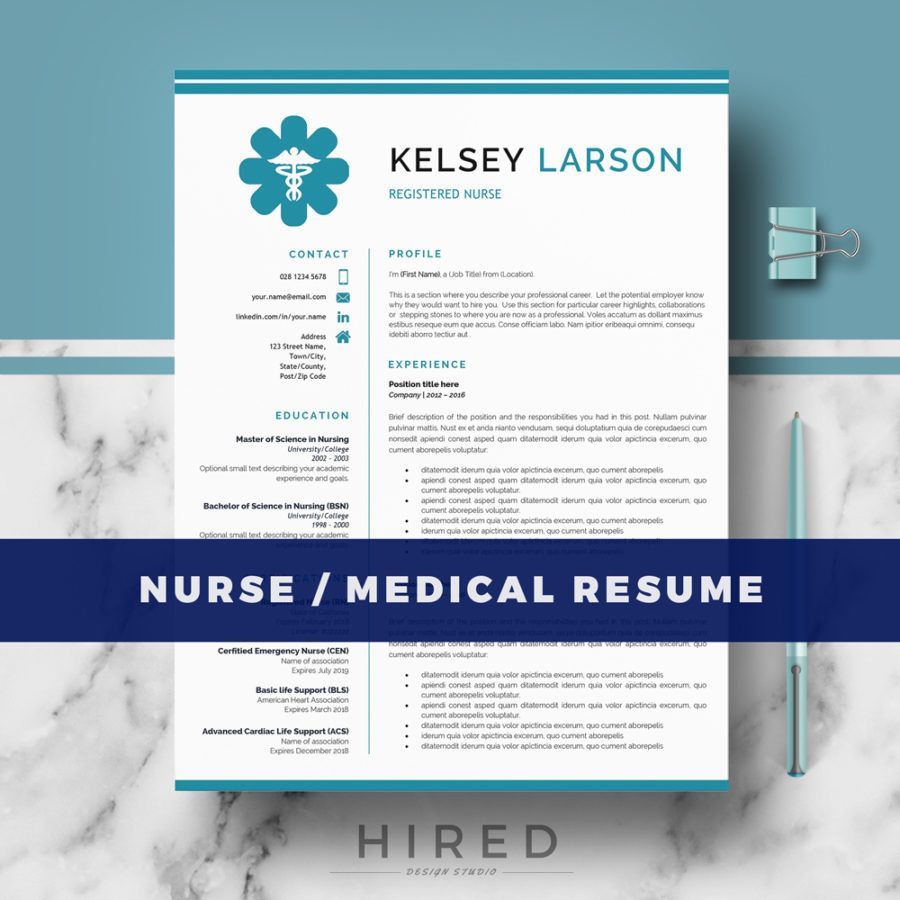 "Nurse Resume Template for MS Word: ""Kelsey"" 