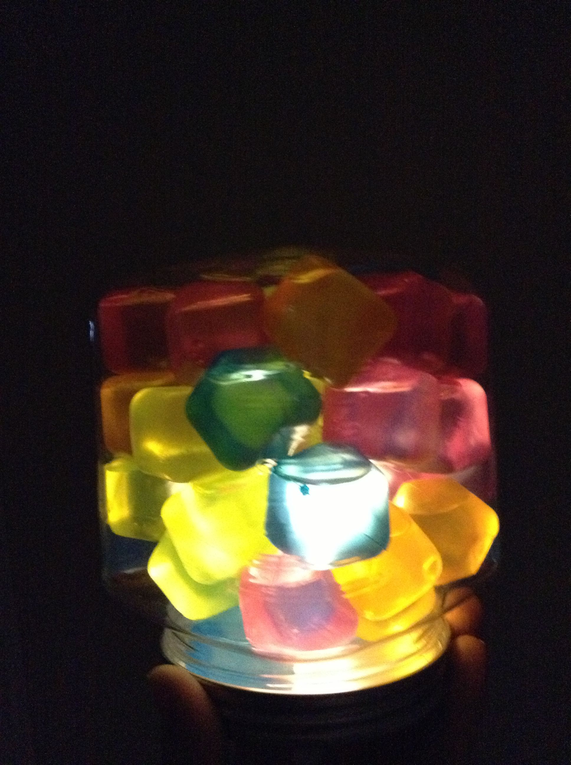 Ice cube blocks, container and light. @playing_in_k
