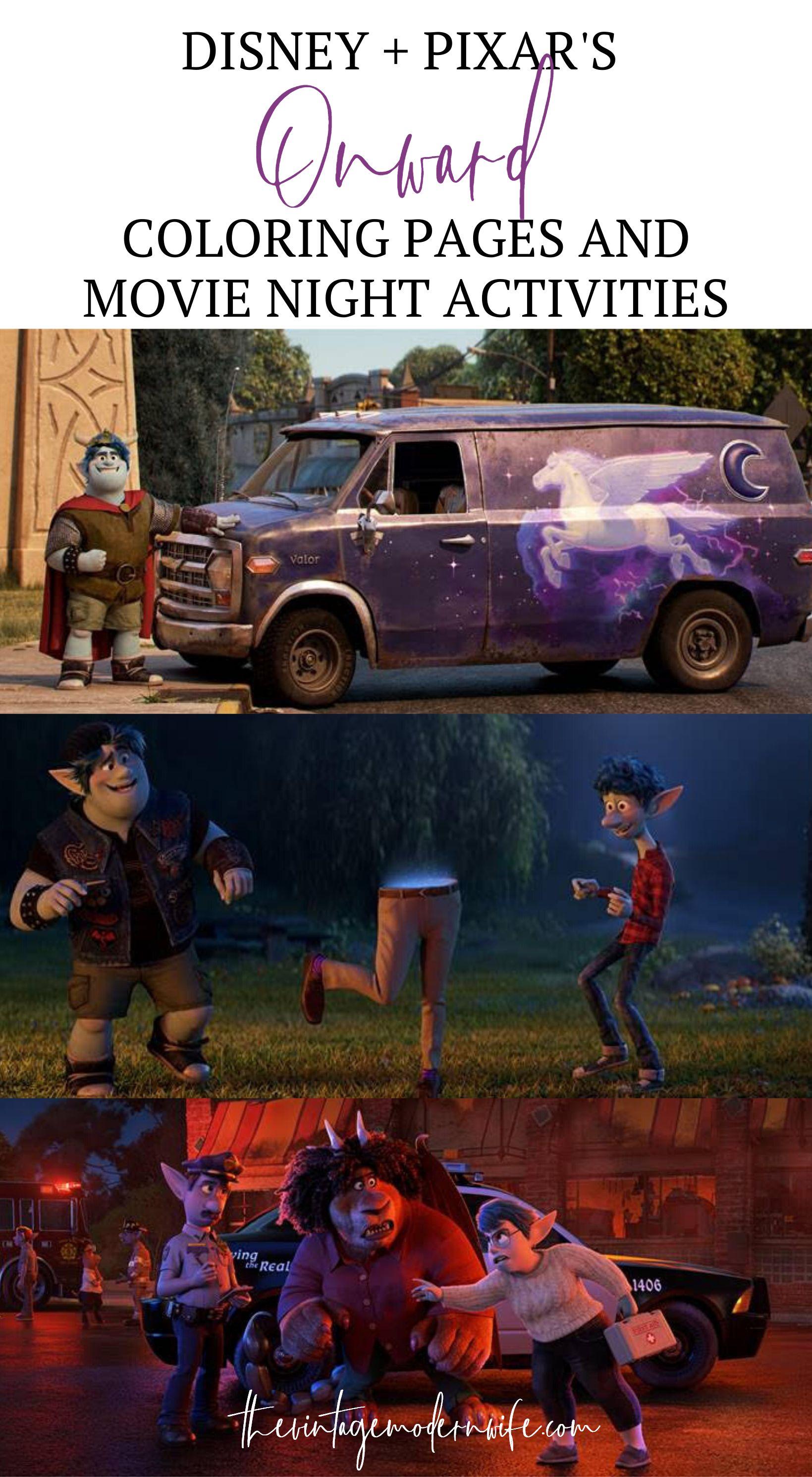 Disney + Pixar's Onward Coloring Pages and Movie Night