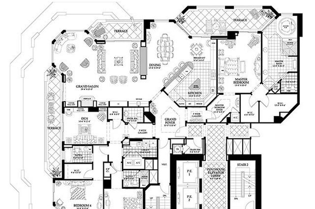 luxury penthouse floor plans - Luxury Penthouse Floor Plans
