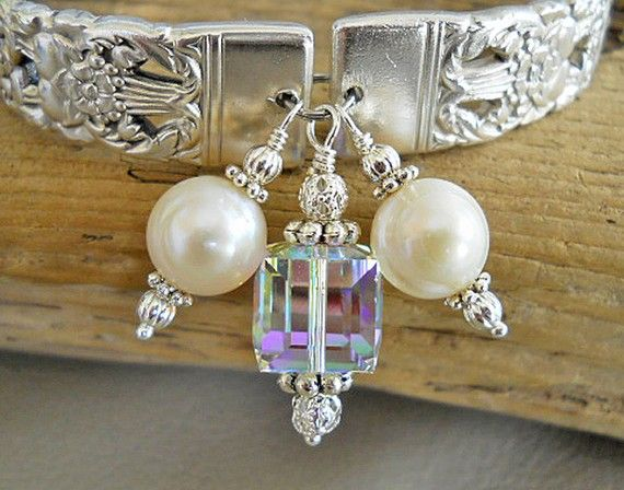 Spoon Bracelet - Coronation Silver Plated Spoon Bracelet with Genuine Pearls and Swarovski Cube