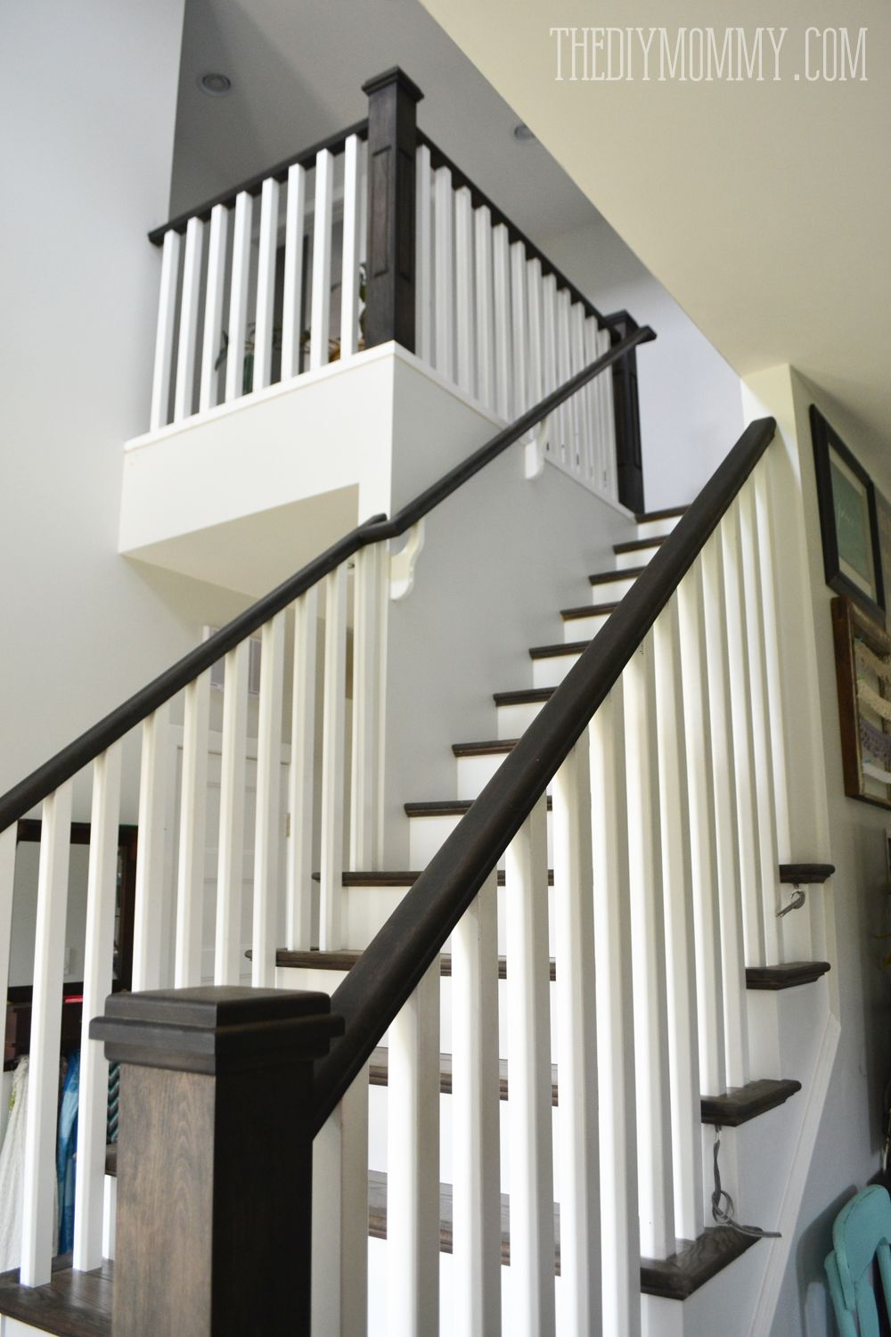 Best Ebony Stain And White Craftsman Stair Railings I Love 400 x 300