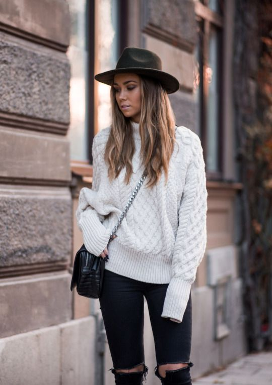 Wear the extra long sleeves trend with ripped jeans and a cross body bag to  recreate Lisa Olsson s cute winter look. A wide brimmed hat will also add a  ... 580575a13