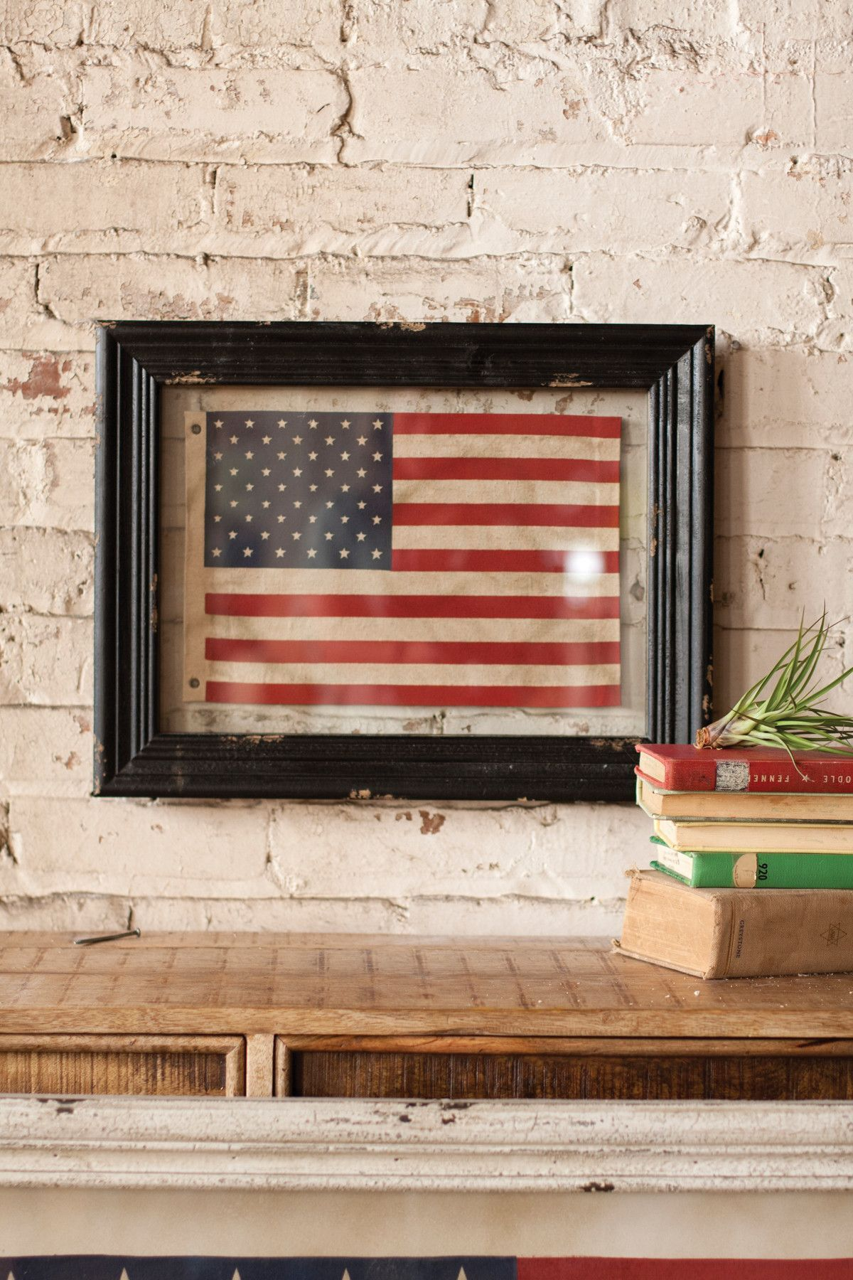 Small Framed American Flag Under Glass Framed American
