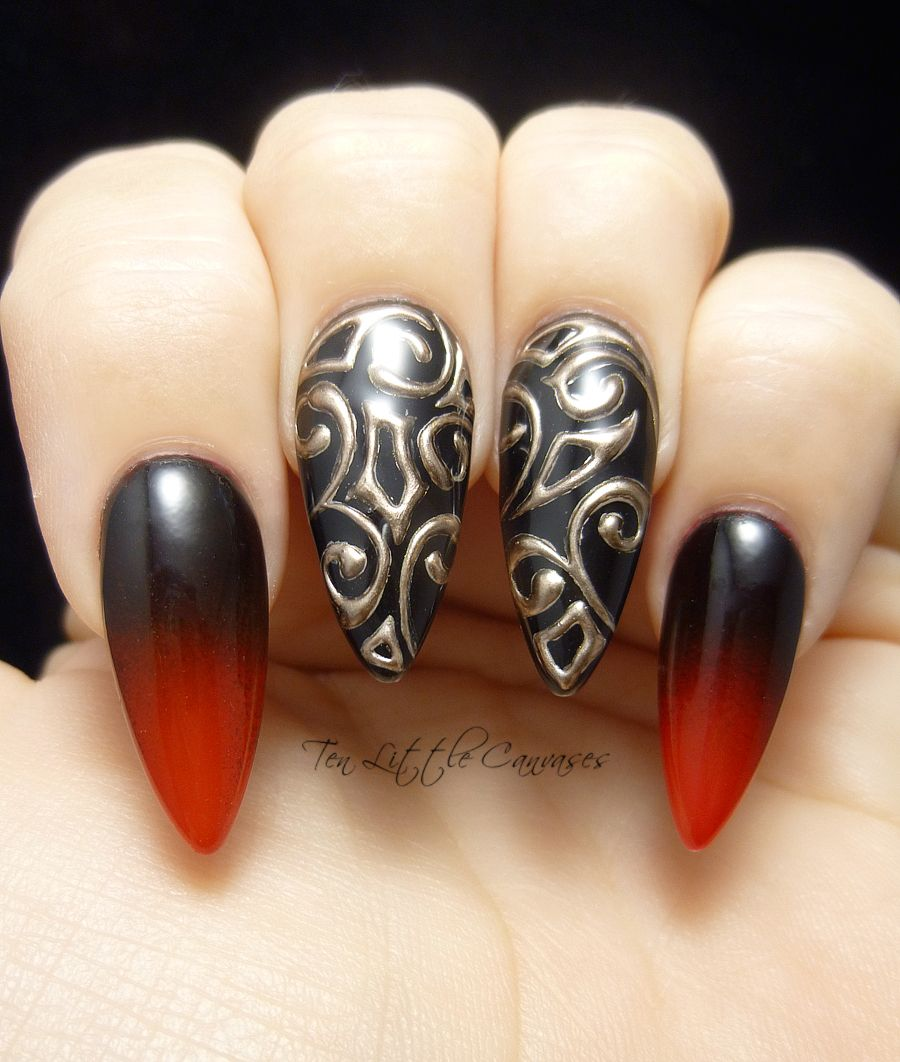 New Mani Black And Red Gradient With 3d Gold Accent Nails