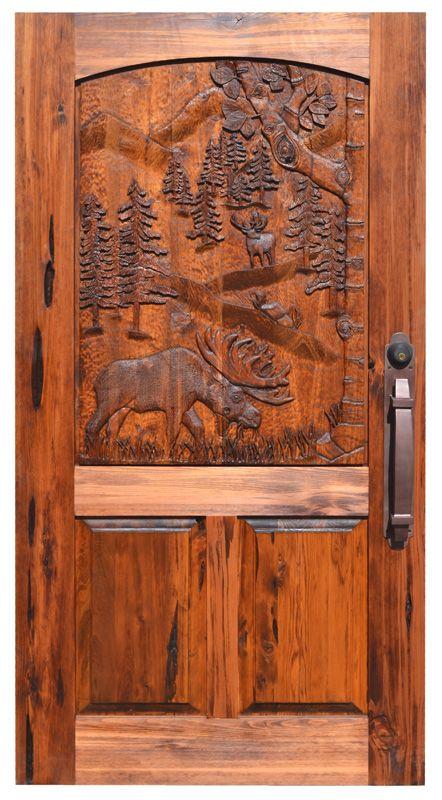 Moose Theme Carved Door Solid Wood Hand Built Lodge Doors