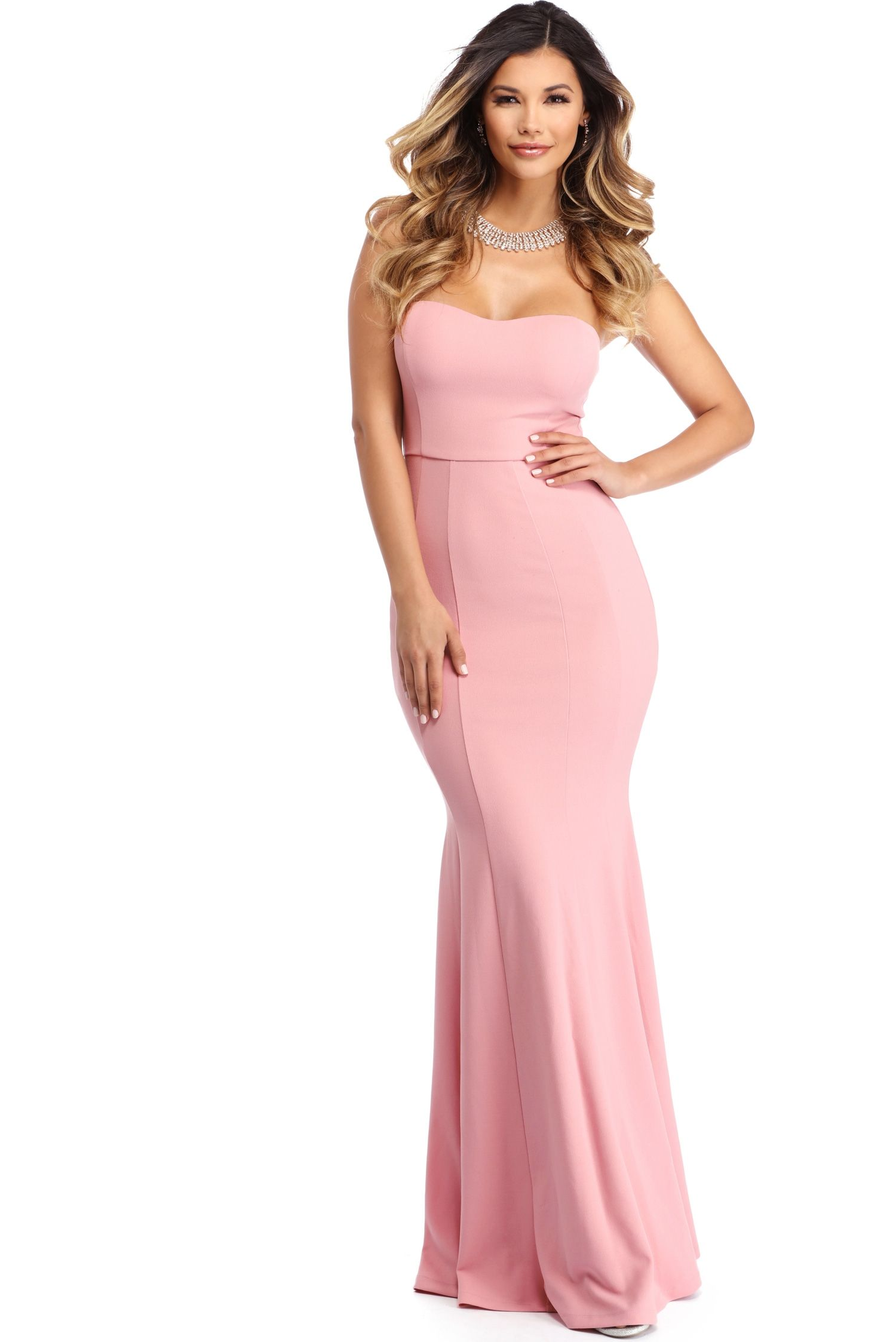 FINAL SALE - Lindsay Pink Sweetheart Trumpet Dress | Trumpet dress ...
