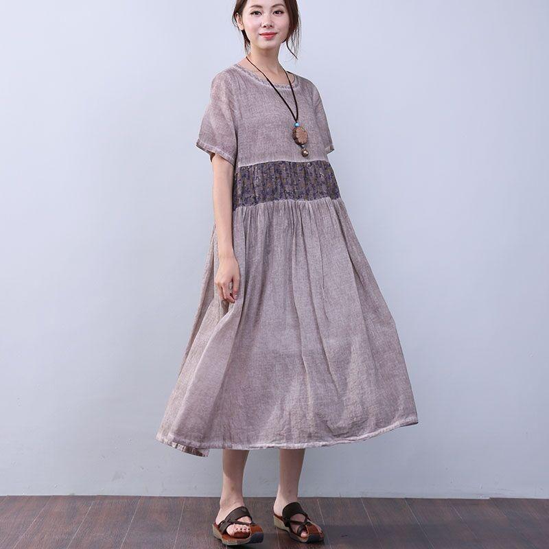 Loose Printing Pocket Lining Short Sleeves Coffee Dress