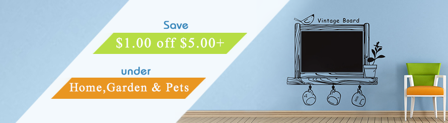 "Save $1.00 off $5.00+ under ""Home,Garden & Pets"""