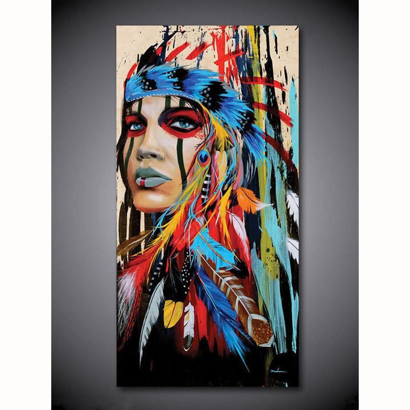 568fb1d24f9 Beautiful Native American Indian Woman in Feather Headress Hand-Painted Oil  Painting On Canvas