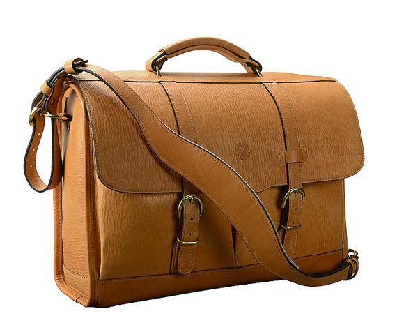 Items similar to Glaser Designs Handmade natural leather briefcases messenger Flapover Bag 17 x 12 x 5