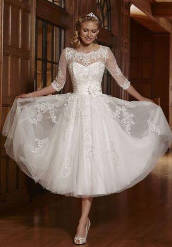 New-White-Ivory-Short-Lace-Wedding-Dress-Bridal-Gowns-Size-4-6-8-10 ...