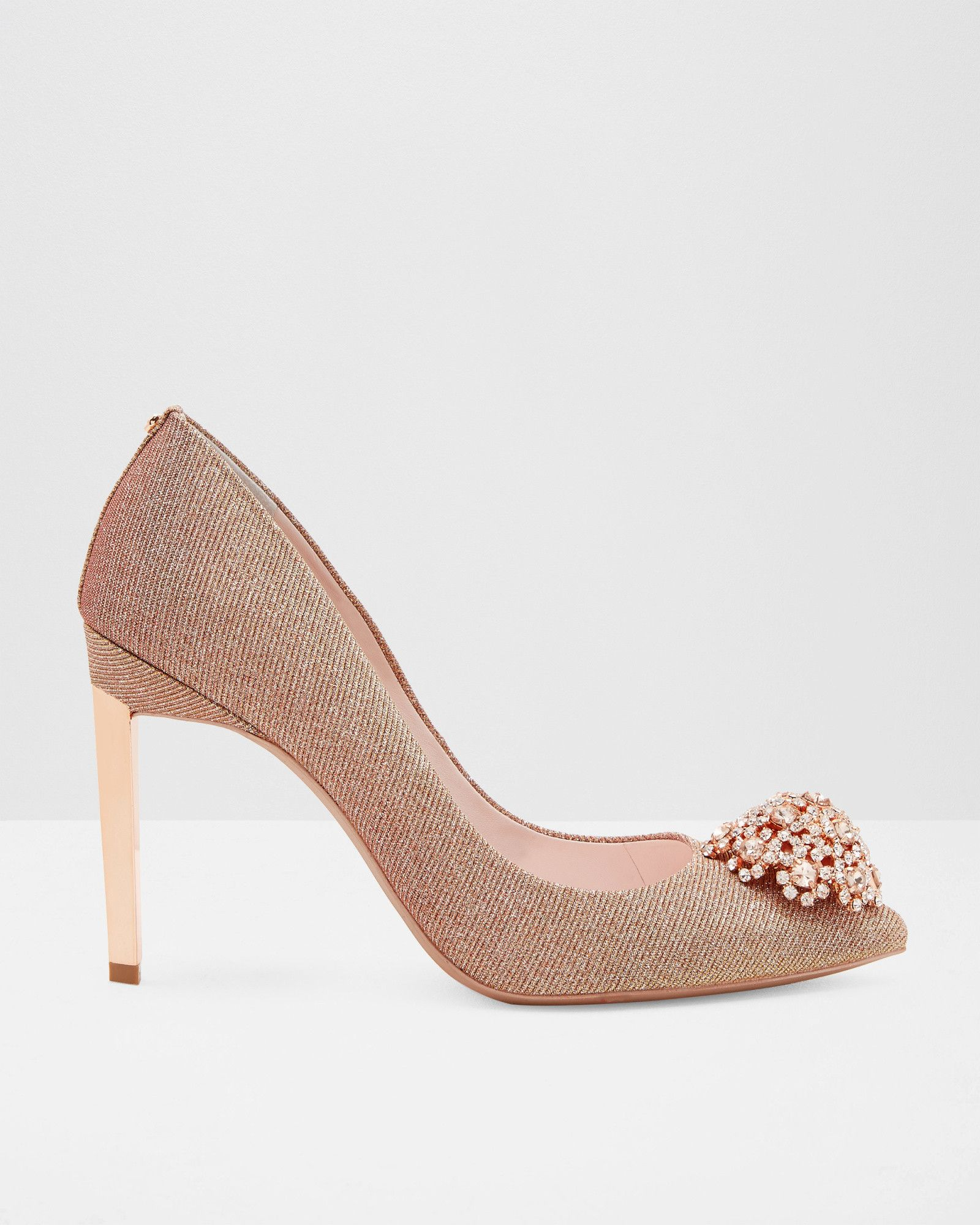 Brooch Detail Court Shoes - Rose Gold