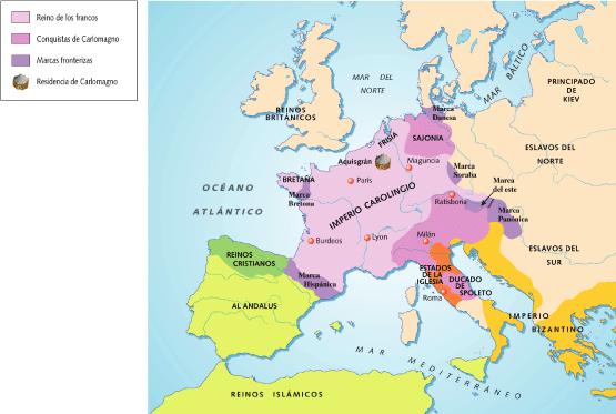 Mapa Europa Siglo Ix.Imperio Carolingio Siglos Viii Ix Hace Referencia A Los Dominios Del Reino Franco Bajo El Poder De La D Imperio Carolingio Imperio Imperio Romano De Oriente