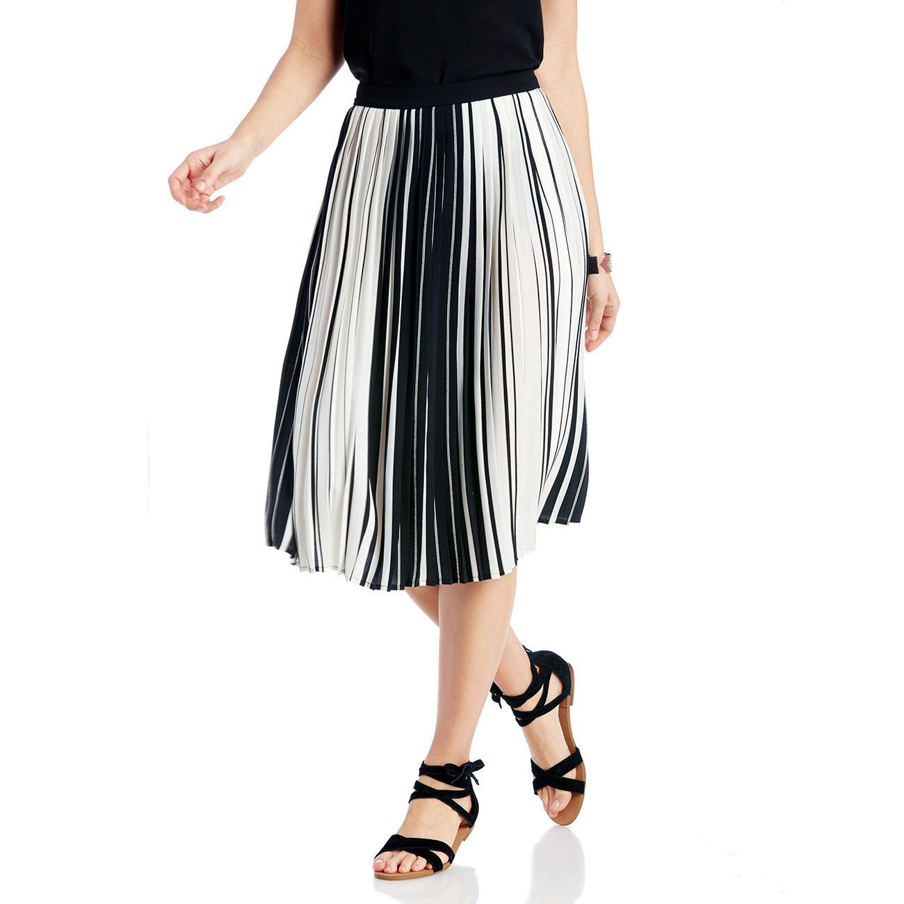 "Sole Society ""Linear Accordian Stripe Skirt"", $99"