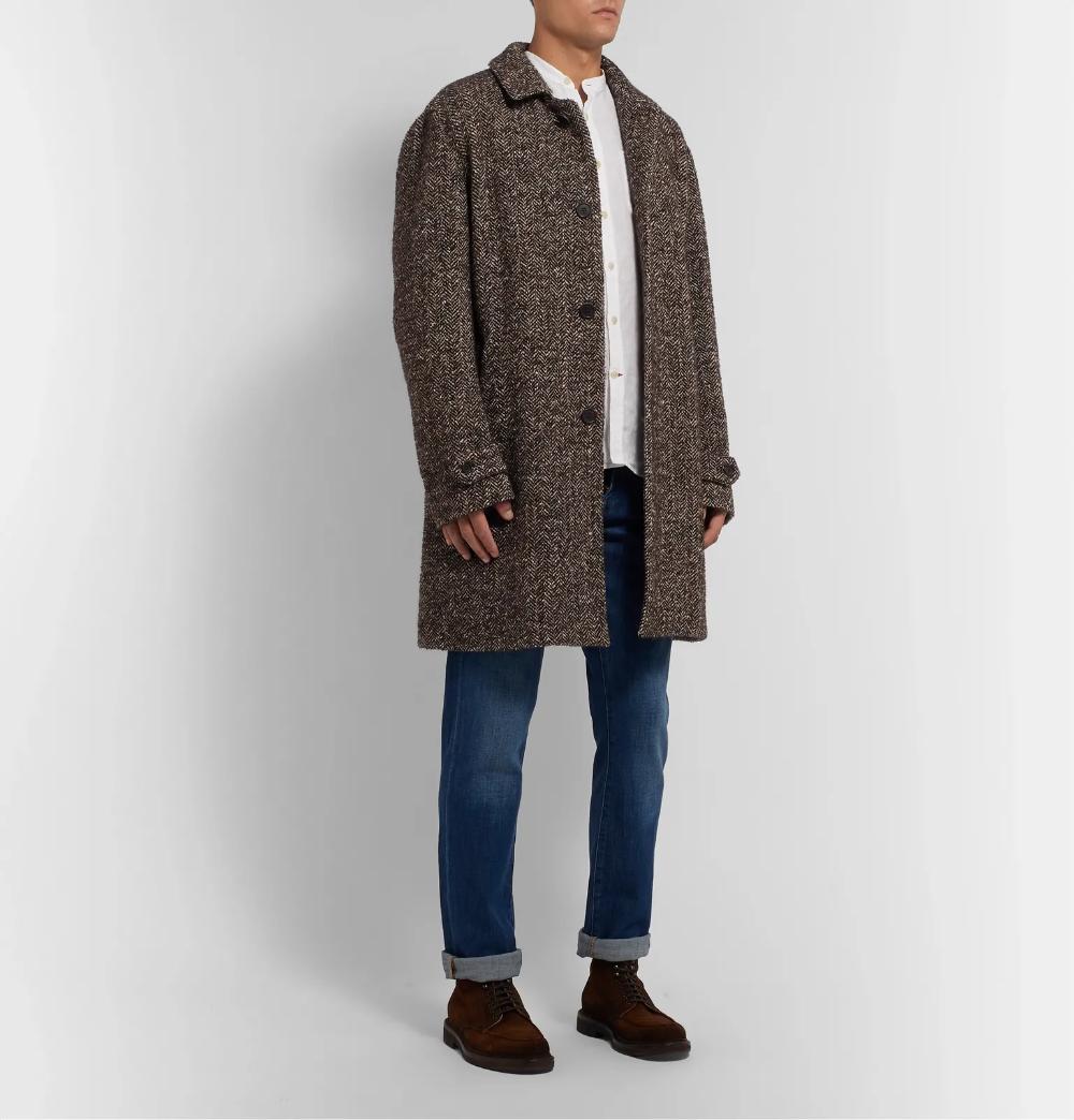 Dark Brown Herringbone Melange Wool Blend Coat Aspesi Wool Blend Coat Spencer Shirts Wool Blend [ 1044 x 1000 Pixel ]