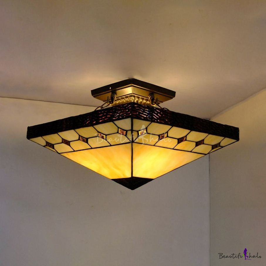 3 Lights Craftsman Semi Flush Ceiling Light Antique Style Art Glass Ceiling Fixture In Beige For Kitchen Ceiling Lights Semi Flush Ceiling Lights Ceiling Fixtures