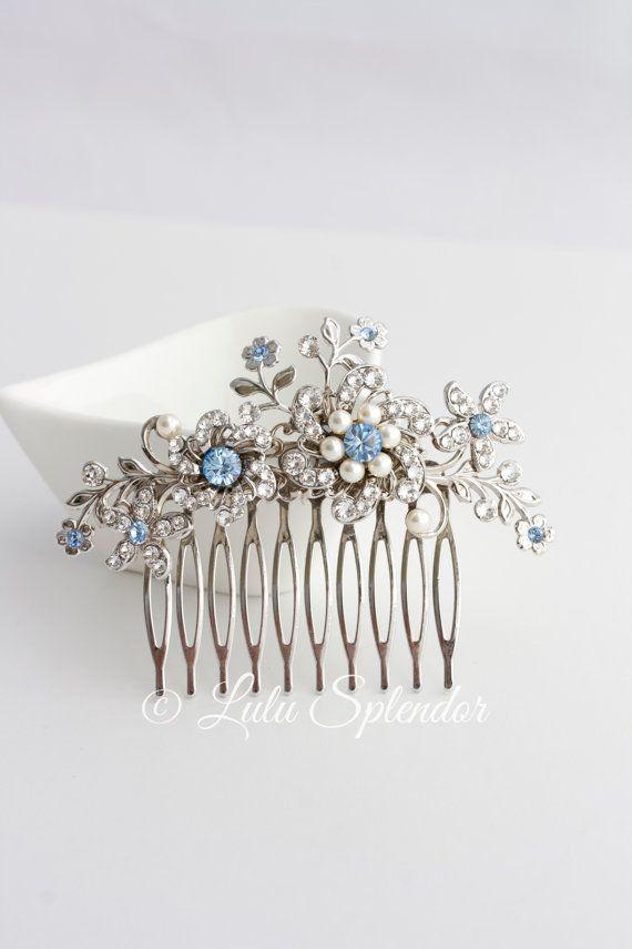 Wedding Hair Comb Light Sapphire Blue Bridal Hair Accessories Something Blue Flower Wedding Com Blue Wedding Hair Vintage Wedding Hair Wedding Hair Accessories