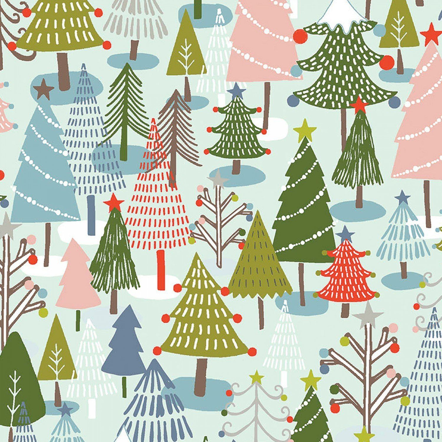 Fat Quarter Woodland Friends Trees Christmas 100/% Cotton Quilting Fabric