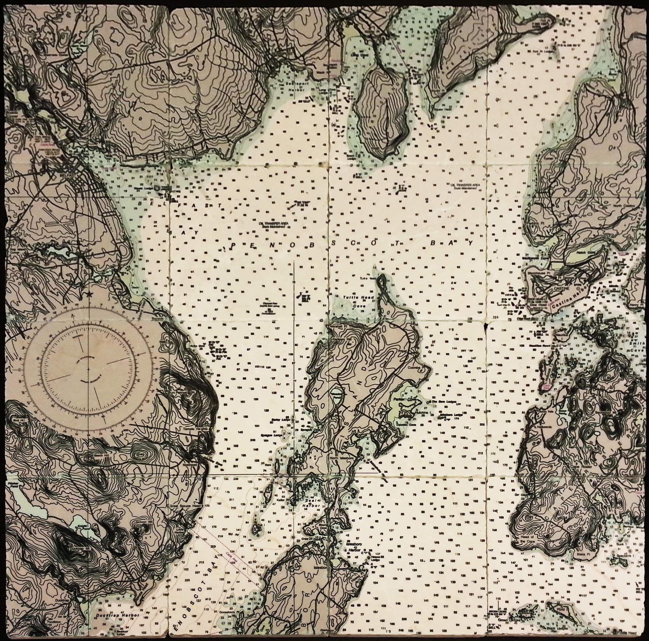 Nautical Map - coast of Maine, on Custom Printed Tumbled Marble ...