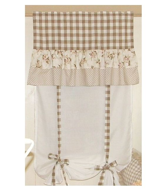 Tenda stile country quadretti beige tendine cucina for Tende da cucina stile country