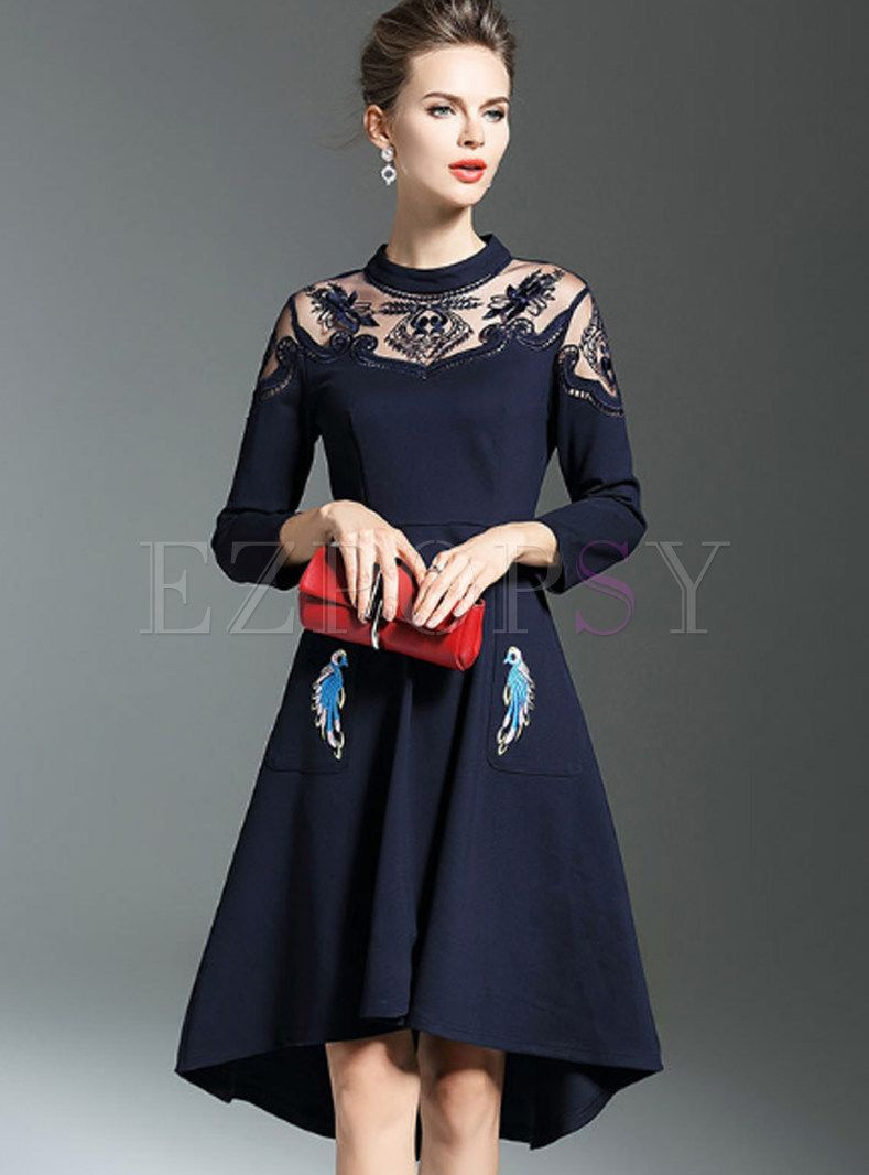 Navy blue chic embroidery aline skater dress in dresses part