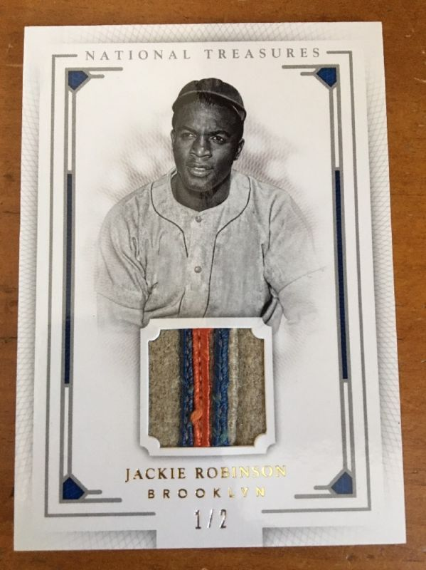 timeless design d489e 358d9 Jackie Robinson 2016 PANINI NATIONAL TREASURES GAME WORN ...