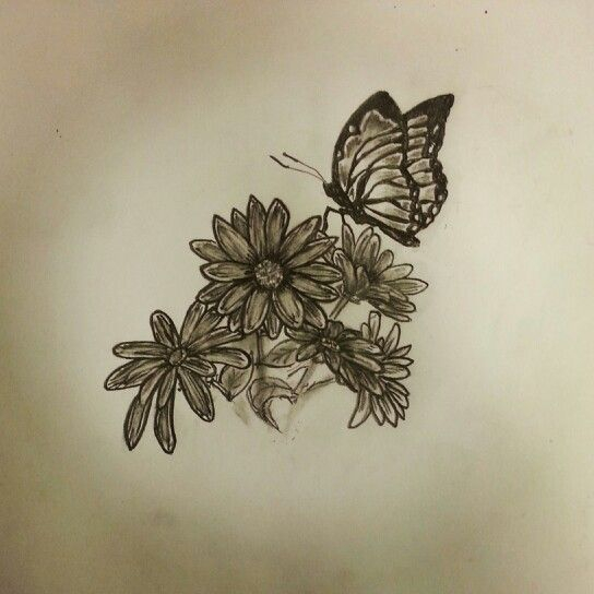 9569789ab Butterfly / Daisies tattoo sketch by - Ranz   Tattoos