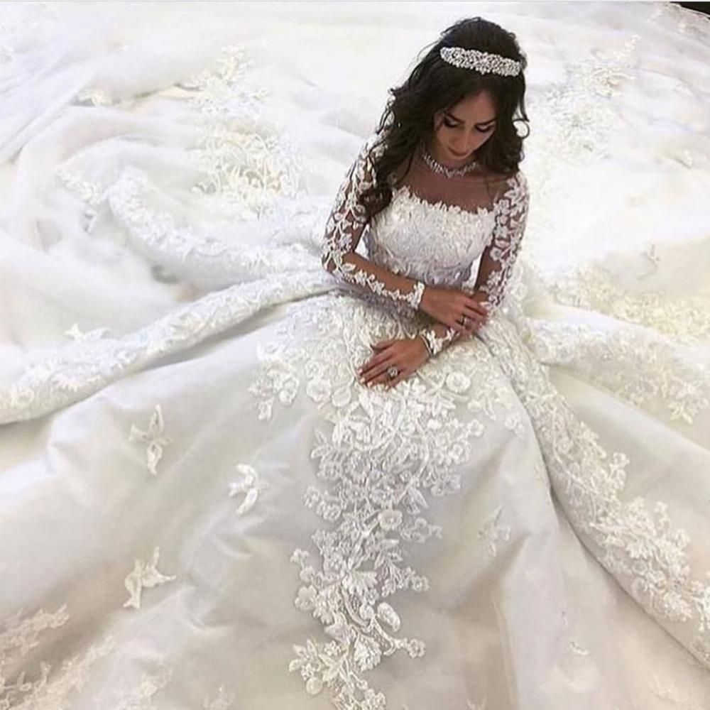 Luxury Wedding Dresses 2020 Long Sleeve Lace Applique Off White Sparkly Arabic Wedding Ball Gown 2021 Ball Gowns Wedding Wedding Dresses Arab Wedding [ 1000 x 1000 Pixel ]