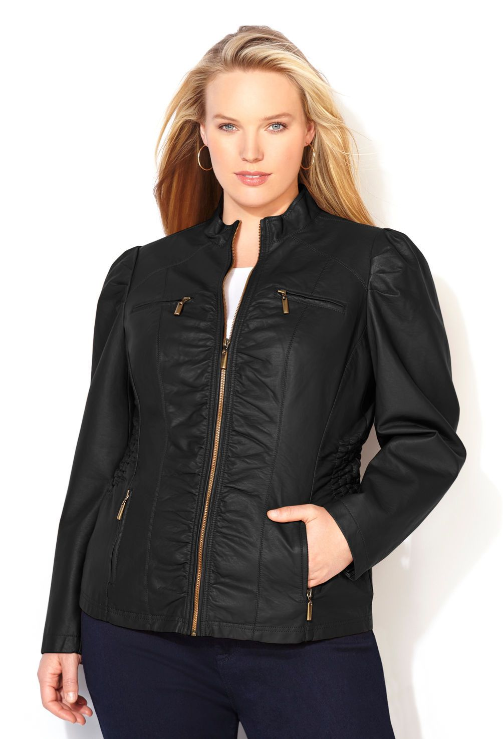 c46f85538dd66 Smocked Faux Leather Jacket-Plus Size Jacket-Avenue   I NEED this in my  life!!!