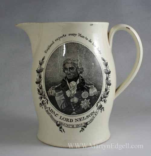 Creamware Jug Commemorating The Death Of Nelson And The
