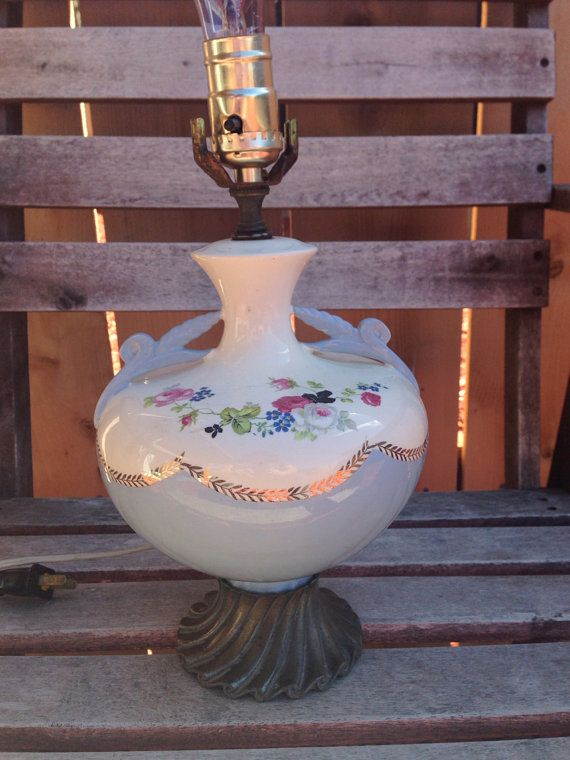Vintage Victorian style floral lamp base by LosChapines on Etsy, $20.00