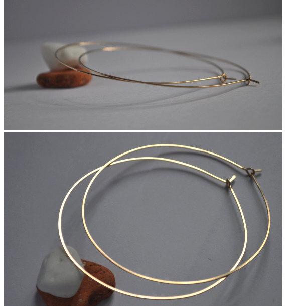 3 inch Gold Hoop Earrings Elegant Extra Hoops 14k Gold