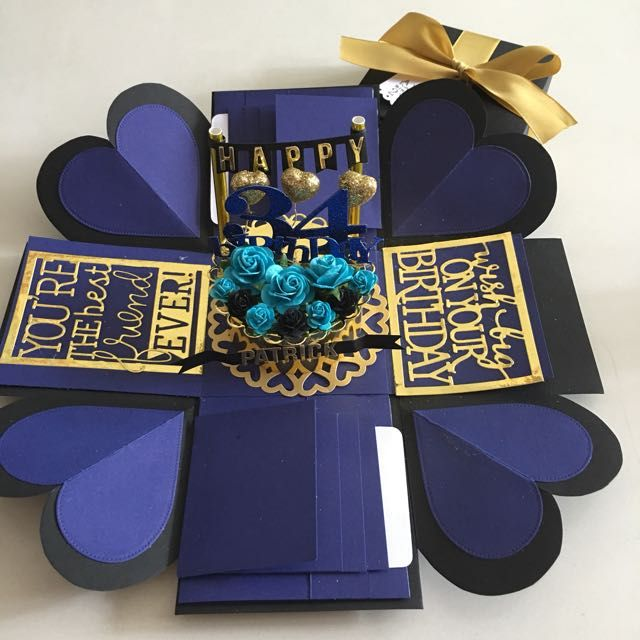 Buy Explosion Box With Cake, 8 Waterfall In Black , Navy