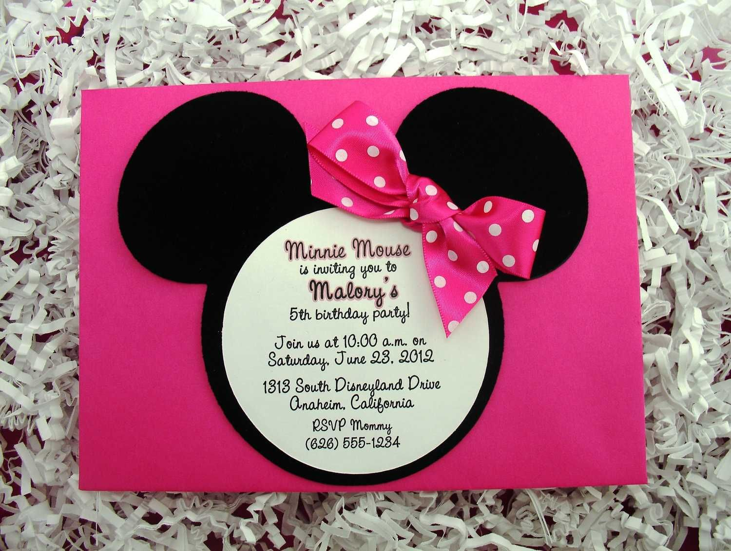 Very Cute Invitation Idea For A Little Girls Minne Themed - Minnie mouse birthday invitation message