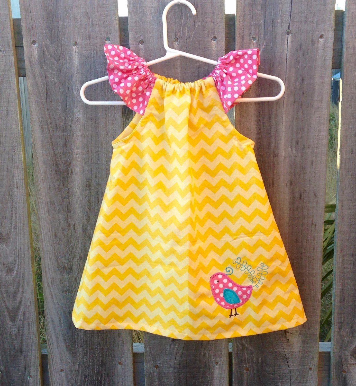 Girls Spring Dress Yellow Chevron Pink Bird