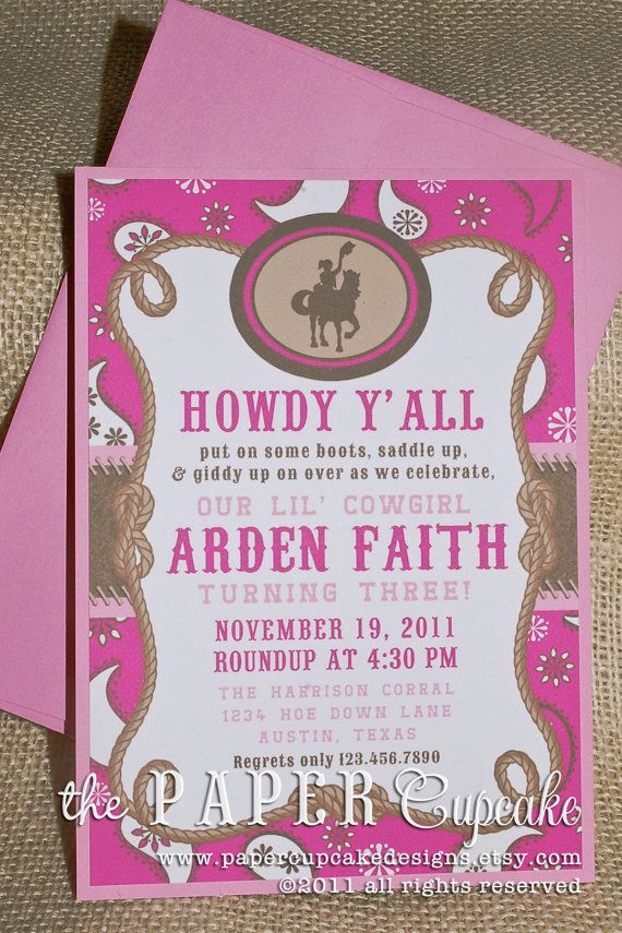 Giddy Up Lil Cowgirl Printed Invitations by papercupcakedesigns