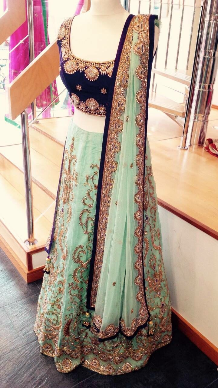 1de234092 Teal and Purple Lengha