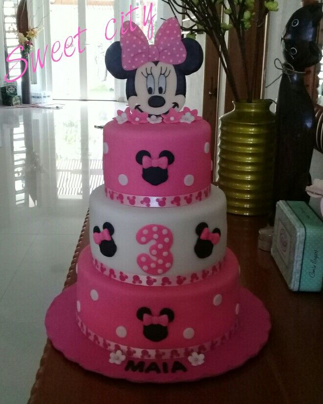 Remarkable Minnie Mouse Cake With Images Twin Birthday Cakes Minnie Personalised Birthday Cards Veneteletsinfo