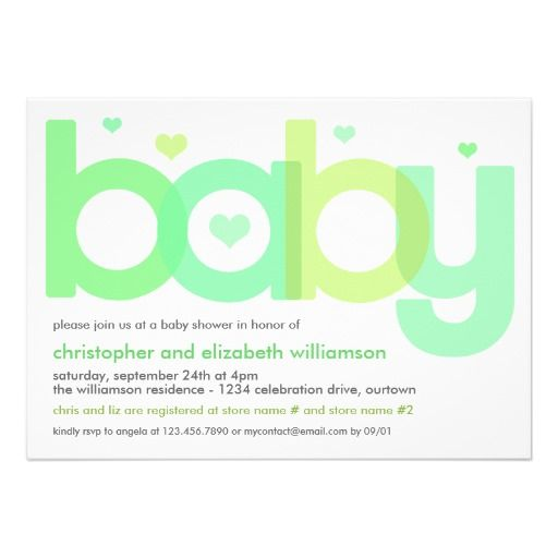 Green Overlay Letters Baby Shower Invitation Oh Baby - baby shower invitation letter