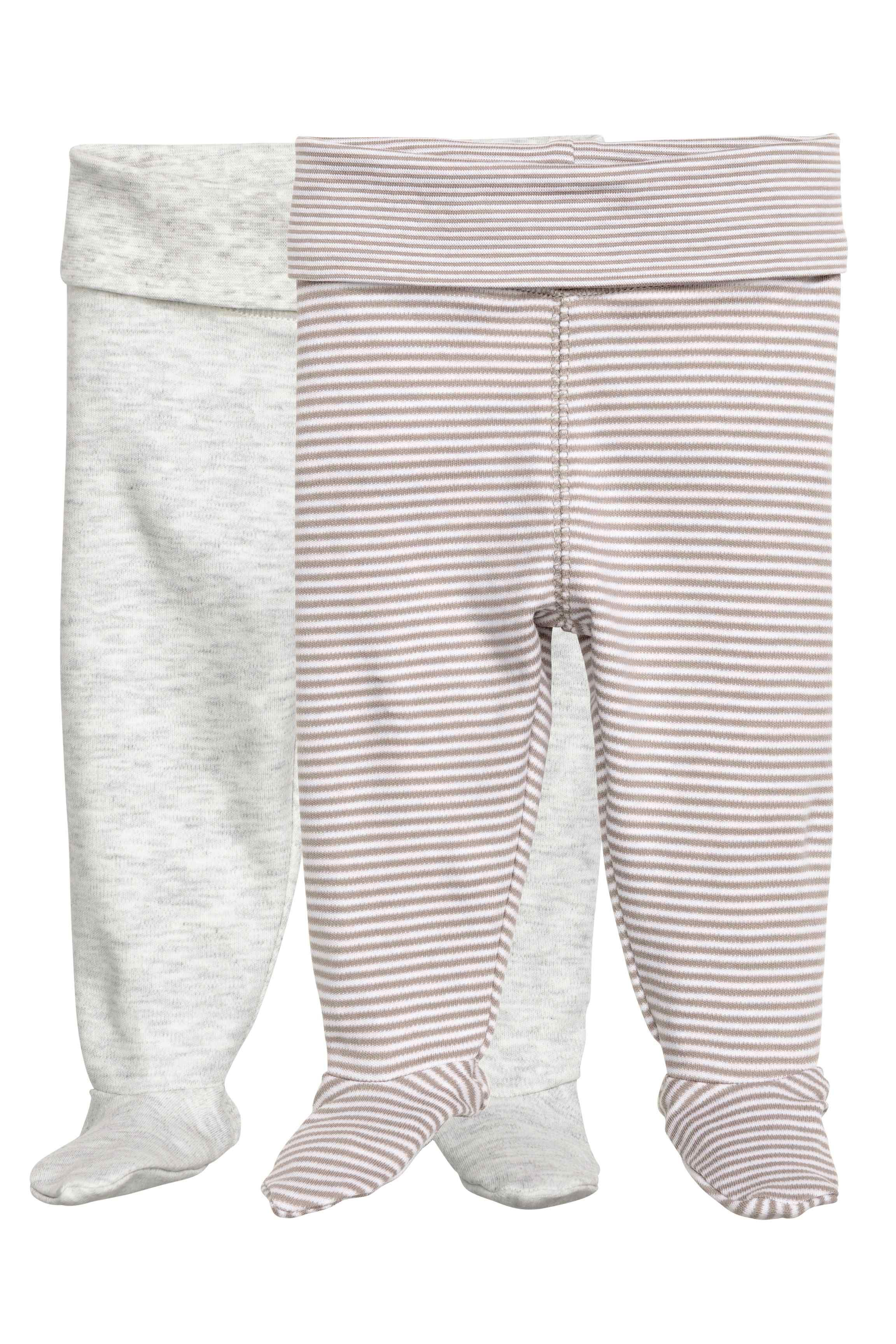 6-pack trousers with feet - Beige/Striped - Kids  H&M GB  Footed
