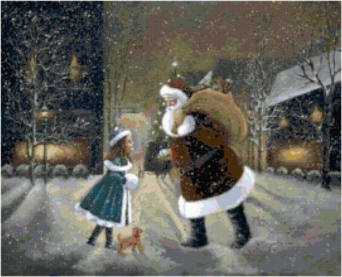 This Victorian Christmas scene with Santa Clause and a little girl is a great way to decorate by stitching as an accent pillow or can be framed to hang on the wall.  Please enjoy this pattern for your