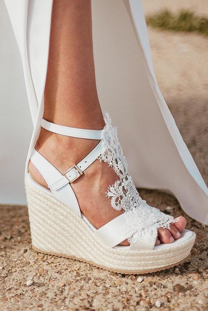 Lace white ivory crystal Wedding shoes Bridal flat low