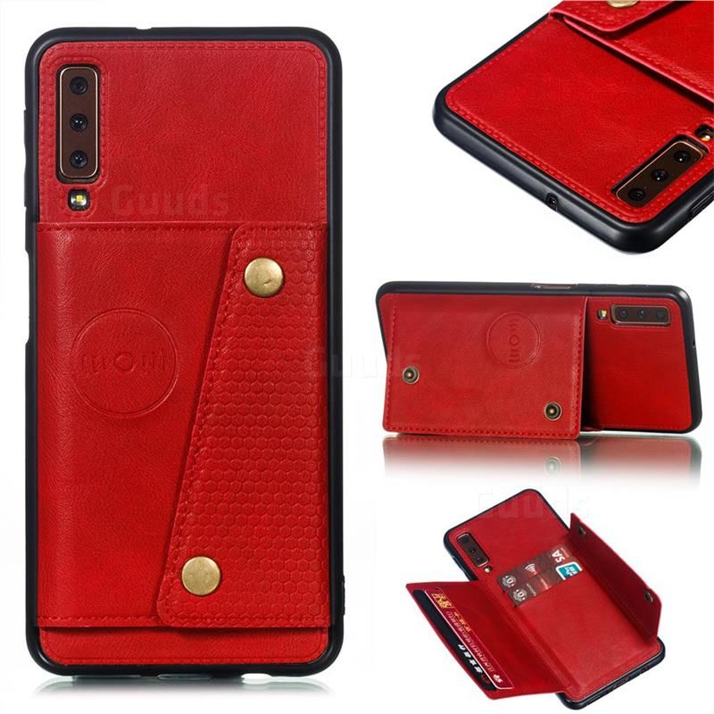 Retro Multifunction Card Slots Stand Leather Coated Phone Back Cover for Samsung Galaxy A7 (2018) A750 - Red - Galaxy A7 2018 Cases - Guuds