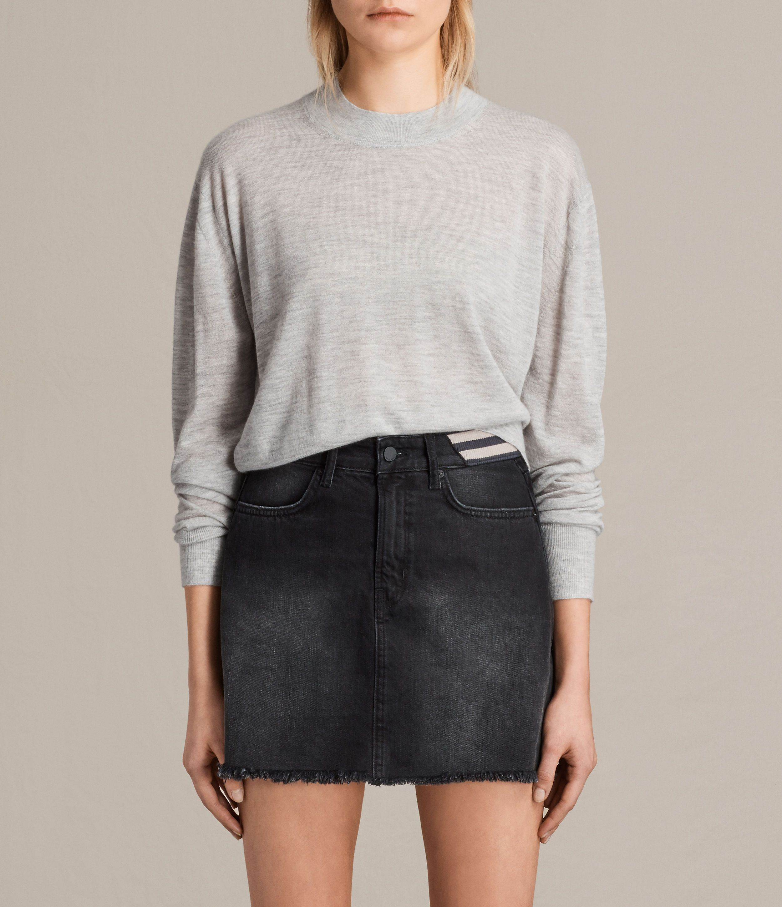 083ce76627184d ALLSAINTS US: Womens Lotus Cropped Cashmere Sweater (Light Grey Marl ...
