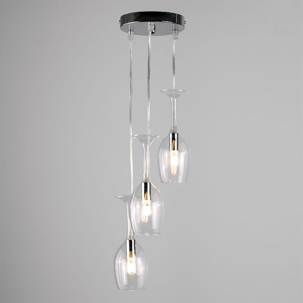 Elegant 3 Way Suspended Wine Glass Ceiling Pendant Light Kitchen ...