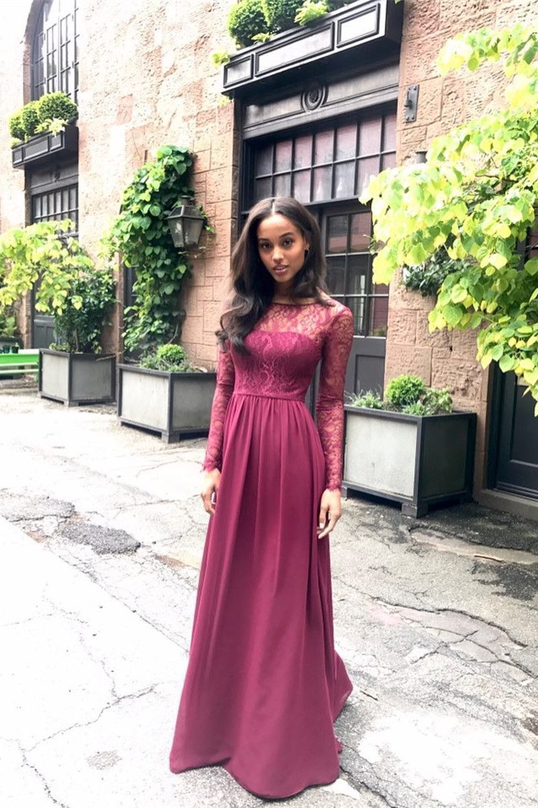 Round neck dark red chiffon bridesmaid dress with lace sleeves in