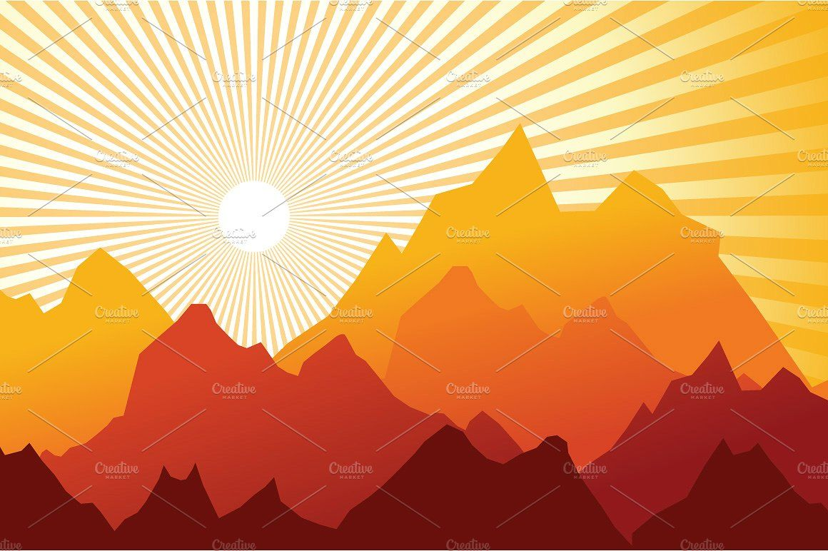 4 Morning Sunrise Mountain Landscape Mountain Landscape Sunrise Mountain Abstract Graphic Design