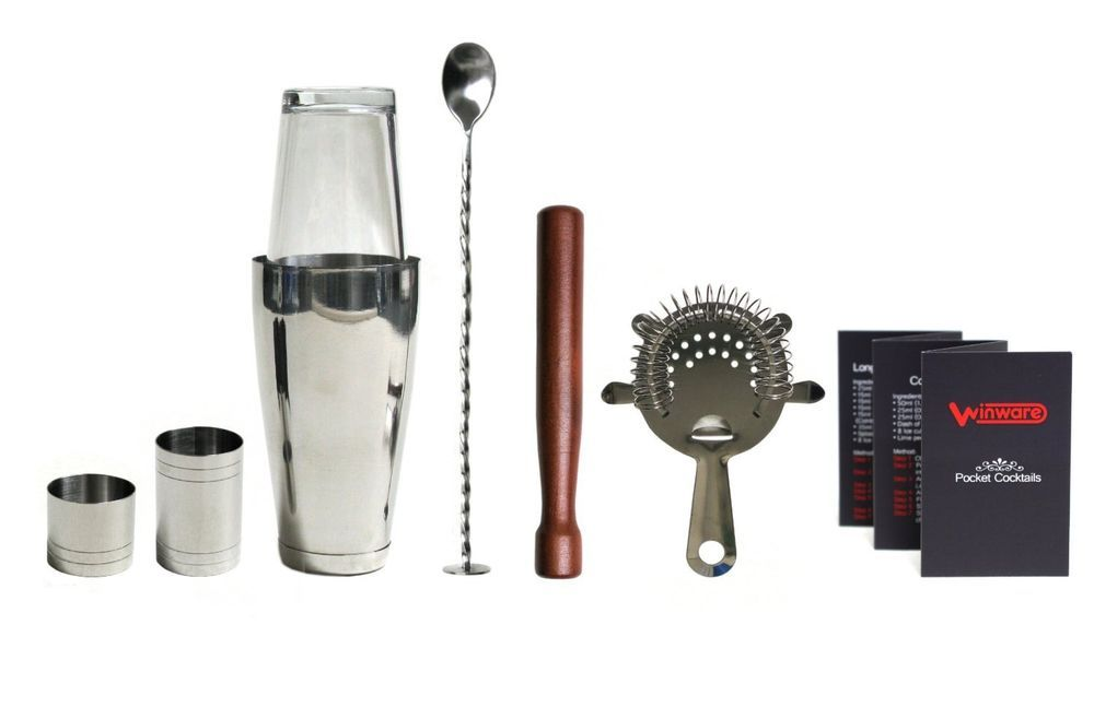 Professional Tail Shaker Set With Guide Bartender Tools Kit Bar Mixer Drink